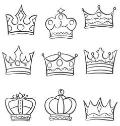 set crown various style doodles vector image