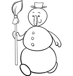 snowman with besom coloring page vector image vector image