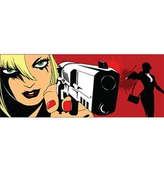 Two girls with guns vector image