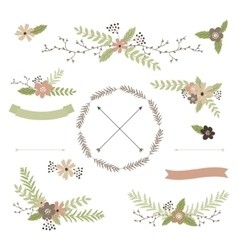 Wedding floral set vector