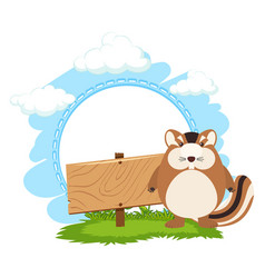Wooden sign and chipmunk vector