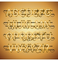 Glowing neon golden alphabet vector