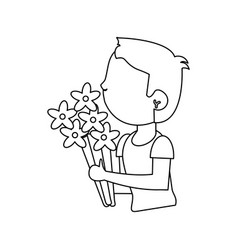 boy with flowers bouquet present vector image