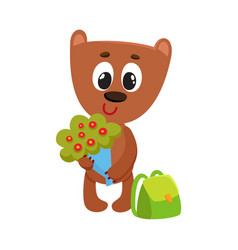 Teddy bear student character with backpack holding vector