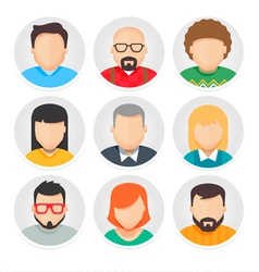 Flat avatar character icons set 1 vector