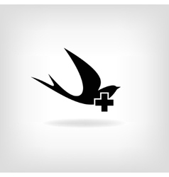 Swallow with a cross logo for medical centers and vector