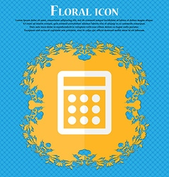 Calculator sign icon bookkeeping symbol floral vector