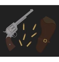 Wild west revolver vector