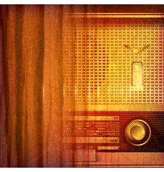 Abstract grunge music background with retro radio vector