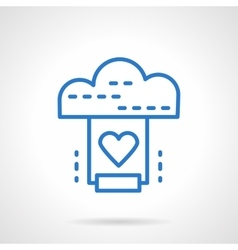 Cloud service icon simple line style vector
