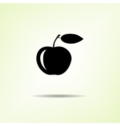 Food icon apple fruit one black silhouette with vector