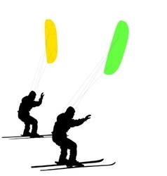 Men ski kiting on a frozen lake vector