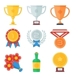 Trophy and awards flat icons set vector