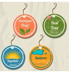 Set of 4 retro summer tags vector