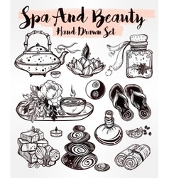 Hand drawn spa set vector