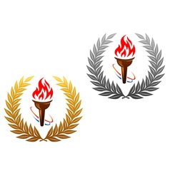 Flaming torch laurel wreath vector image