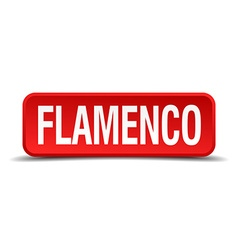 Flamenco red 3d square button isolated on white vector
