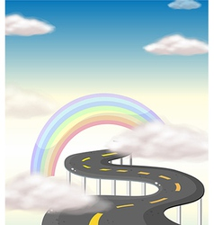 A long winding road going to the rainbow vector