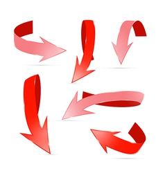 Abstract 3d Red Arrows Set vector image