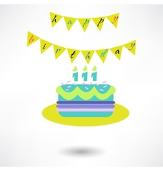 Birthday cake web icon vector image vector image