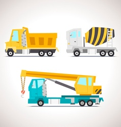 Car flat icon set with construction equipment vector