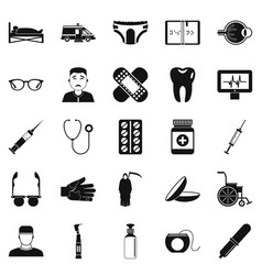 Care of relatives icons set simple style vector