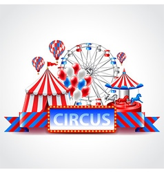 Circus fun fair carnival background vector image vector image