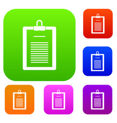 clipboard with checklist set color collection vector image