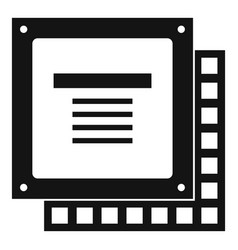 Computer cpu processor chip icon simple vector