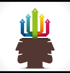 Creative info-graphics arrow out from human head c vector