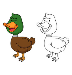 Educational coloring book-duck vector