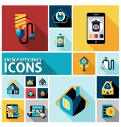 Energy efficiency icons set vector