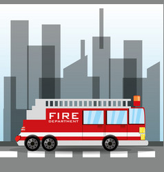 Firetruck transiting for the city vector