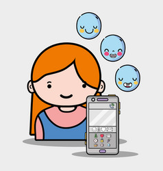 Girl with emoji icons of whatsapp app vector