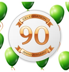 Golden number ninety years anniversary celebration vector