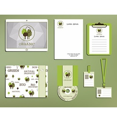 Green and organic corporate identity set template vector image vector image