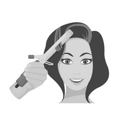 Hair curling in the hairdresser curling hair vector