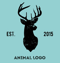 Hipster logotype with head of deer vector image