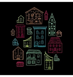 Houses and Trees Sketch Black 2 vector image vector image