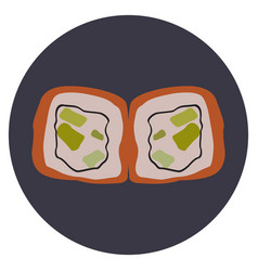 Isolated pair of sushi rolls vector