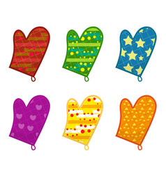 Kitchen potholders mittens with different vector