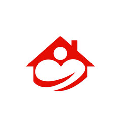 Love house people logo vector