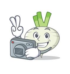 Photographer turnip mascot cartoon style vector