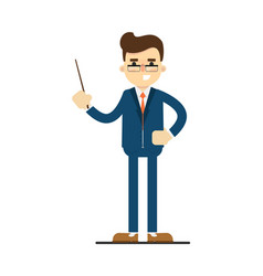 Pointing businessman with classroom pointer vector