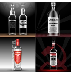 red vodka bottle mockup with your label vector image