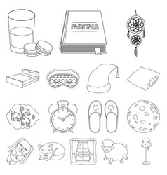 rest and sleep outline icons in set collection for vector image vector image