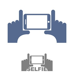 Selfie Logo Sign emblem for a photo on phone Hands vector image vector image