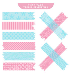 set of blue and pink washi tape with variant vector image