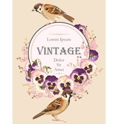 Vintage card with birds vector image vector image