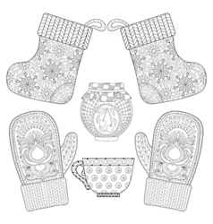 Winter knitted mittens socks cup of tea jam in vector